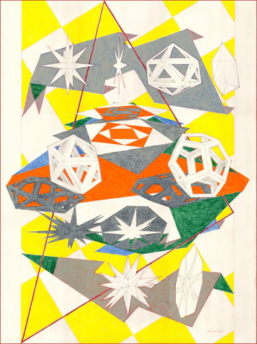 Platonic Triangulation, 22 x 30 inches, body color on paper, 2008